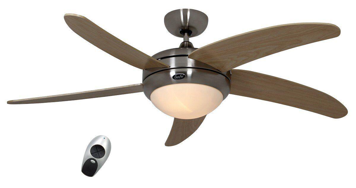Casafan Ventilateur de plafond, design silencieux 132 Cm chrome brossé pales bois érable avec lampe CASAFAN Elica BN-AH