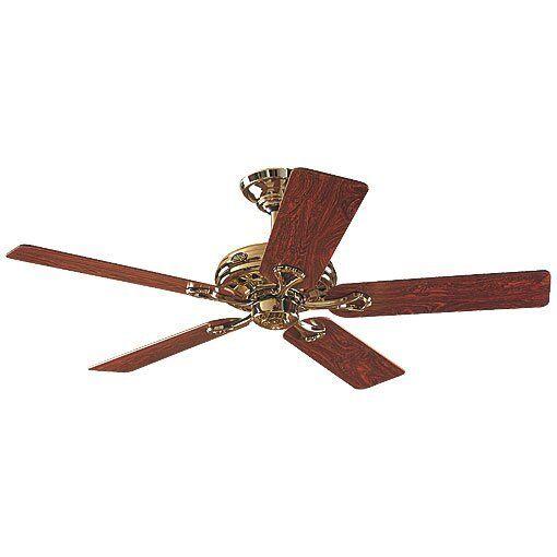Hunter Ventilateur de plafond Savoy Hunter laiton poli et pales bois rose ou chêne, silencieux, 132cm