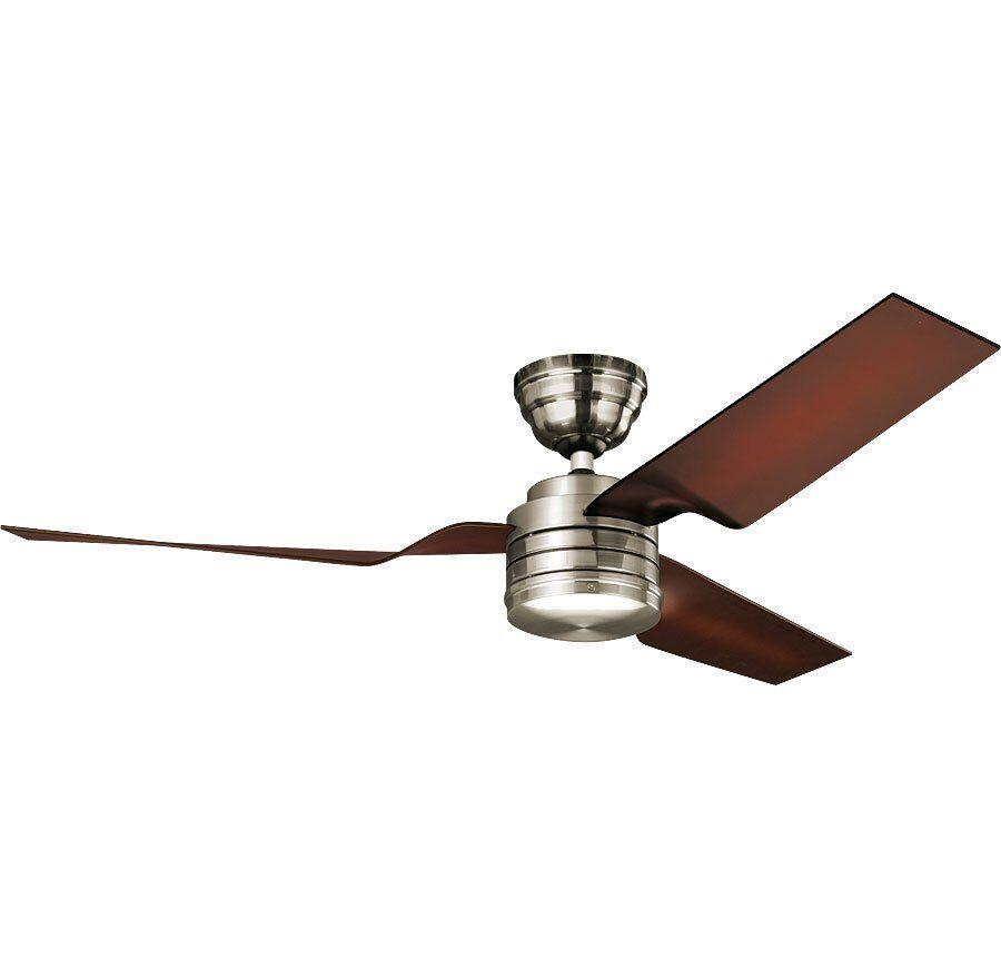 Hunter Ventilateur de plafond design, silencieux, moderne 132 cm chrome brossé pales café Hunter flight Bn