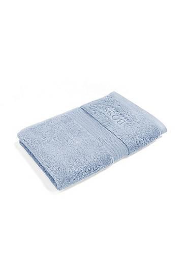BOSS Serviette de toilette pour invité en coton égyptien peigné avec bordure côtelée