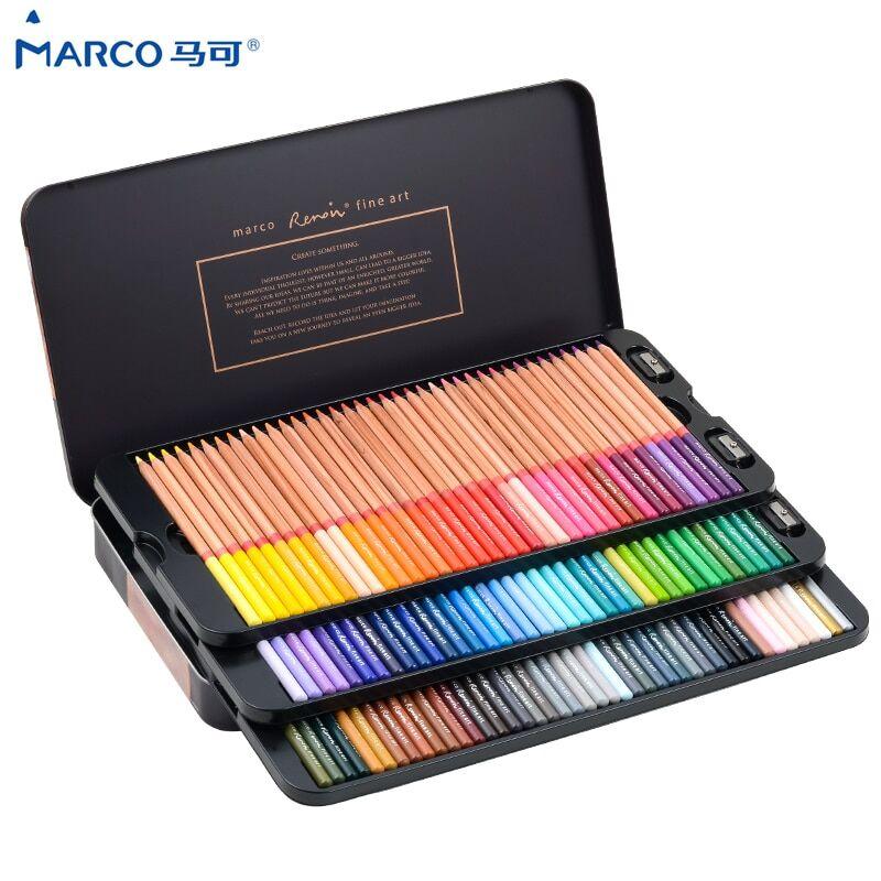 Marco Reffine – crayons de couleur à l'huile en bois, 24/36/48 couleurs, Prismacolor, pour artiste,