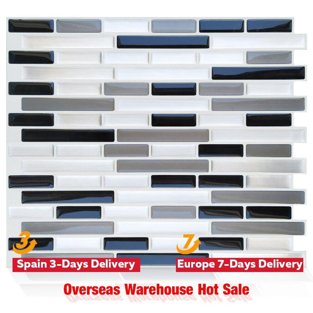 null 10 pièces auto-adhésif carrelage autocollants décor à la maison mur autocollant mosaïque vinyle