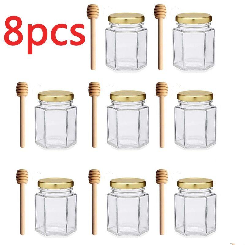 AliExpress Mini bocaux hexagonaux en verre avec couvercle doré pour cadeaux de mariage, réception de naissance