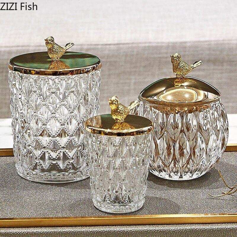 AliExpress Pot de rangement en verre cristal européen, bocal de bonbons, oiseau doré, multifonctionnel, pour