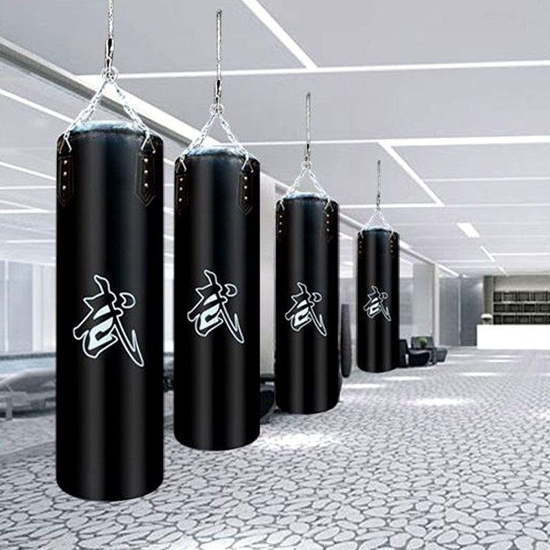 AliExpress Sac de boxe vide en cuir PU 60/80/100/120cm, sac de sable pour Fitness, boxe thaïlandaise, Sanda