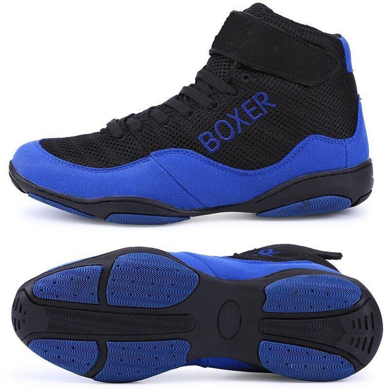 AliExpress Chaussures de boxe légères pour hommes, baskets respirantes de lutte, de couleur bleue et rouge,