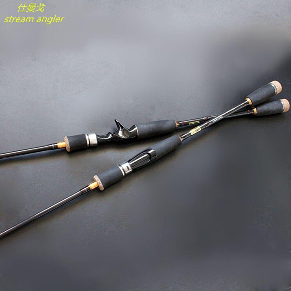 AliExpress Canne à pêche au leurre M, à haute teneur en carbone, 1.8m à 2.7m, avec 2 pointes, livraison