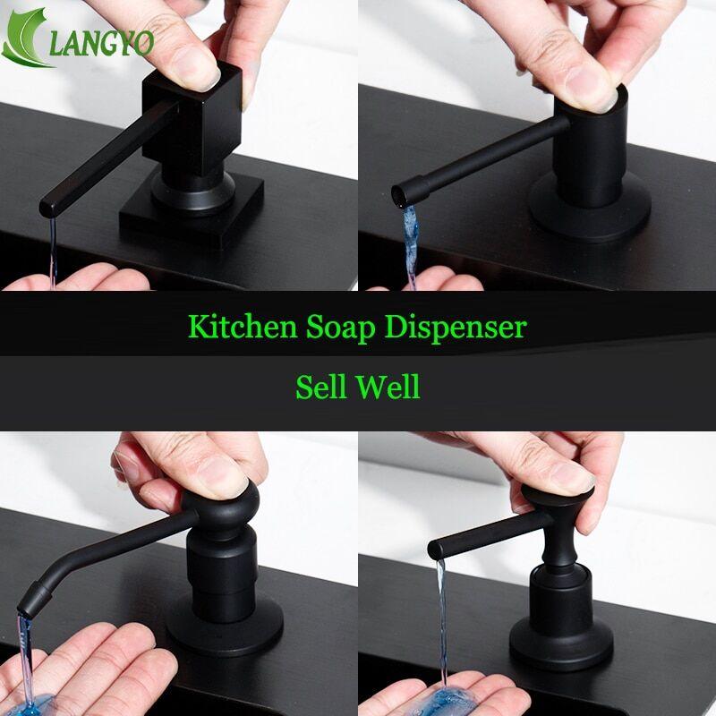 AliExpress Distributeur de savon liquide en plastique ABS, évier de cuisine noir, pompe à Lotion intégrée,