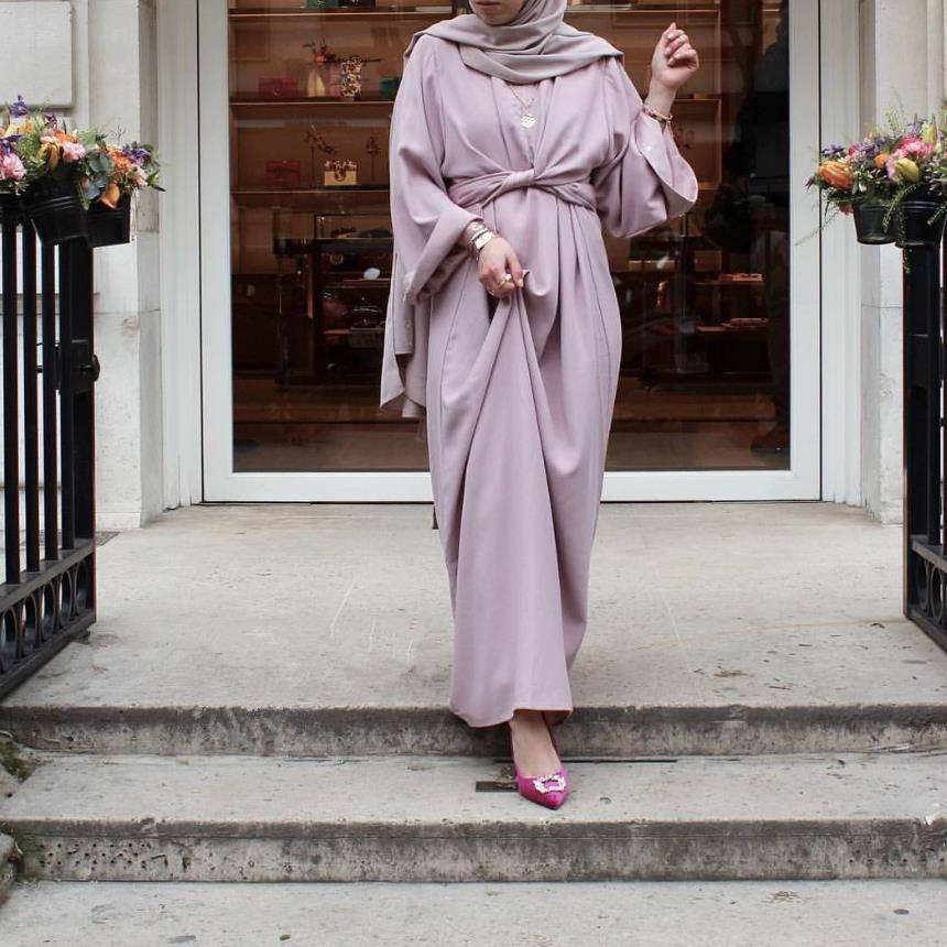 AliExpress Fahion – Robe Musulmane deux pièces, caftan, longue et soyeuse, style turc, dubaï, mode, Service de