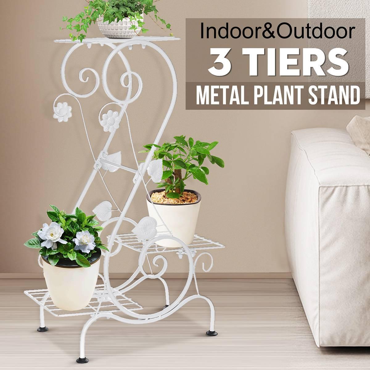 AliExpress Support de plantes à fleurs européennes à 3 niveaux, support de jardinière en fer, présentoir de
