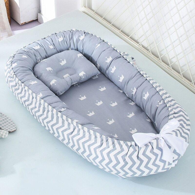 AliExpress Lit nid de bébé 85x50cm avec oreiller, berceau Portable de voyage, berceau en coton pour nouveau-né