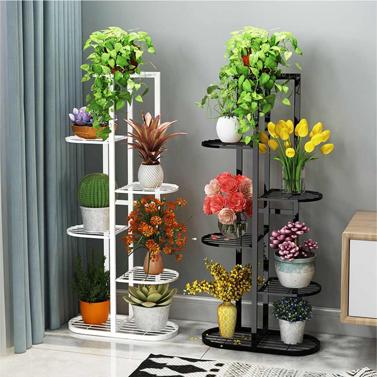AliExpress tagère à plantes en fer, 1 pièce, support pour plantes à fleurs en Pot, étagère Multiple pour