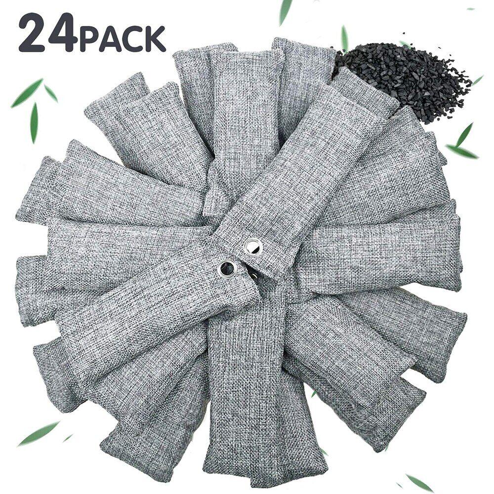 AliExpress Sac de charbon de bambou 24 sacs x 50g, charbon actif pour la maison, absorbeur d'odeur plus frais,