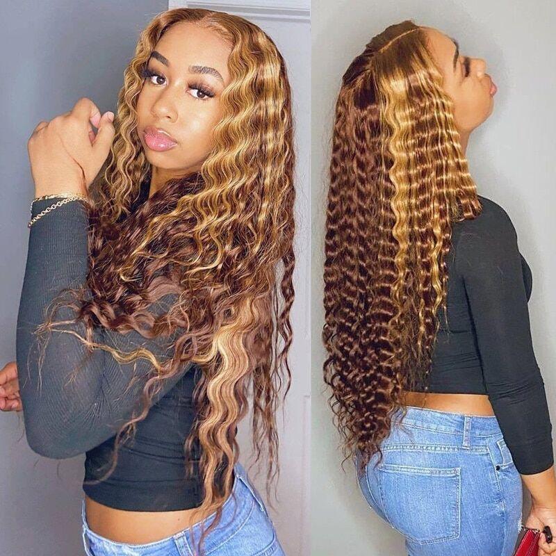 AliExpress Perruque Bob Lace Front Wig frisée naturelle, cheveux brésiliens, couleur blond miel ombré, brun,