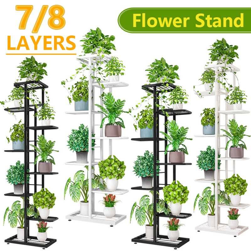 livin 6/7/8 couches De Fleurs Support tagère De Rangement En Fer Porte-Plante Maison Jardin Fleur Pot