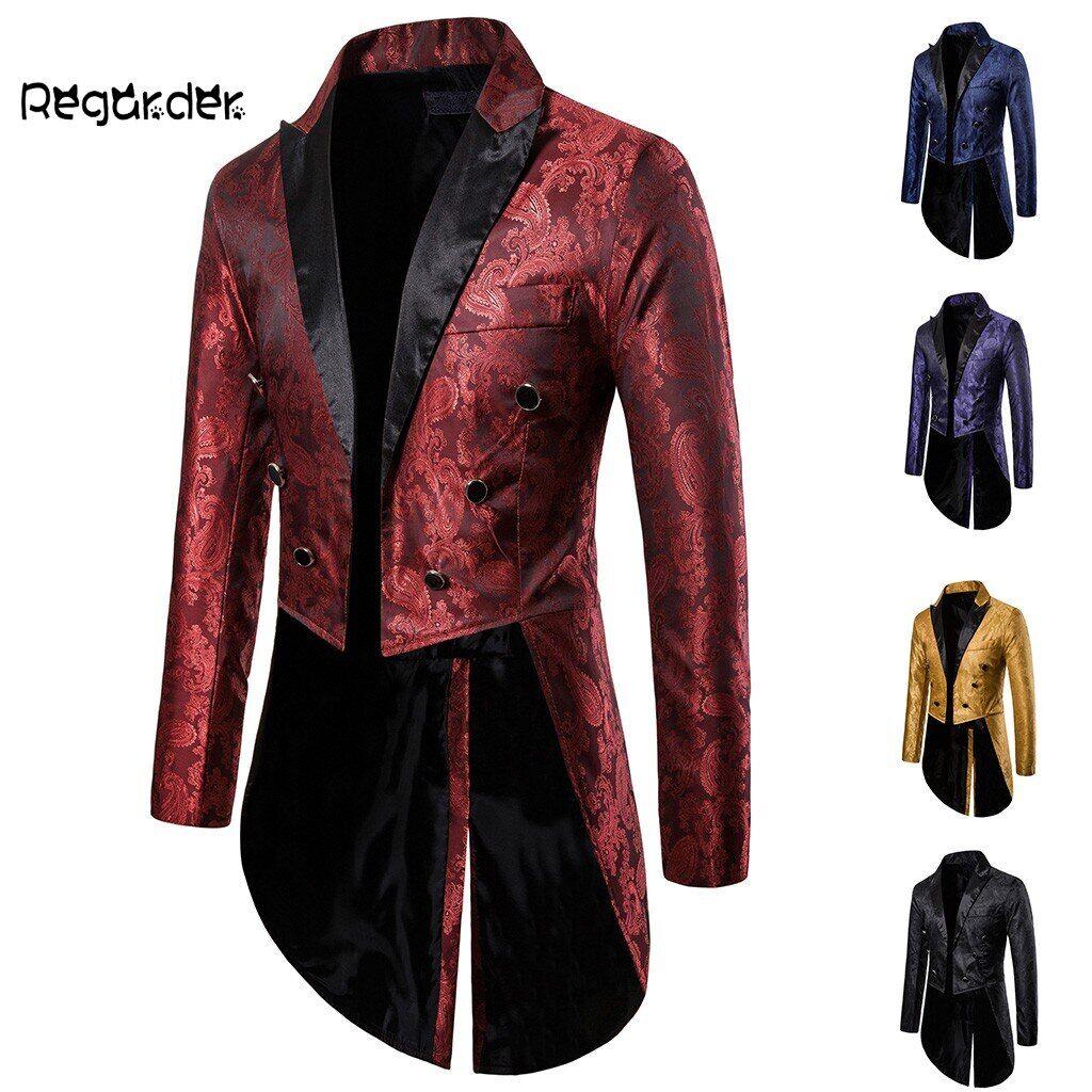 AliExpress Manteau de Cosplay à simple boutonnage pour homme, veste longue, Goth Steampunk, costume, Cardigan,