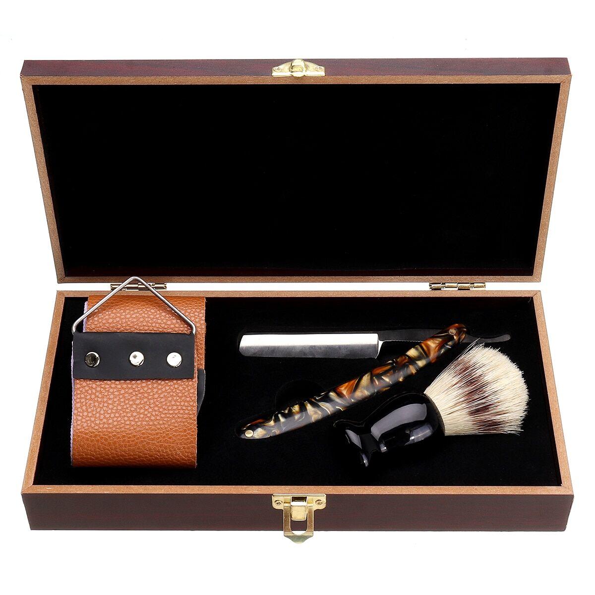 AliExpress Ensemble de rasoir manuel classique pour hommes, couteau de rasage droit pliant + brosse de rasage +
