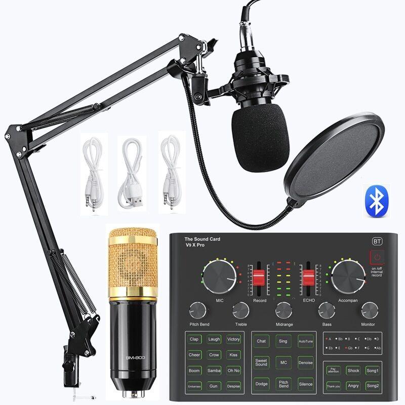 AliExpress Carte son Microphone à condensateur BM800 V9X PRO, ensemble d'enregistrement pour diffusion en