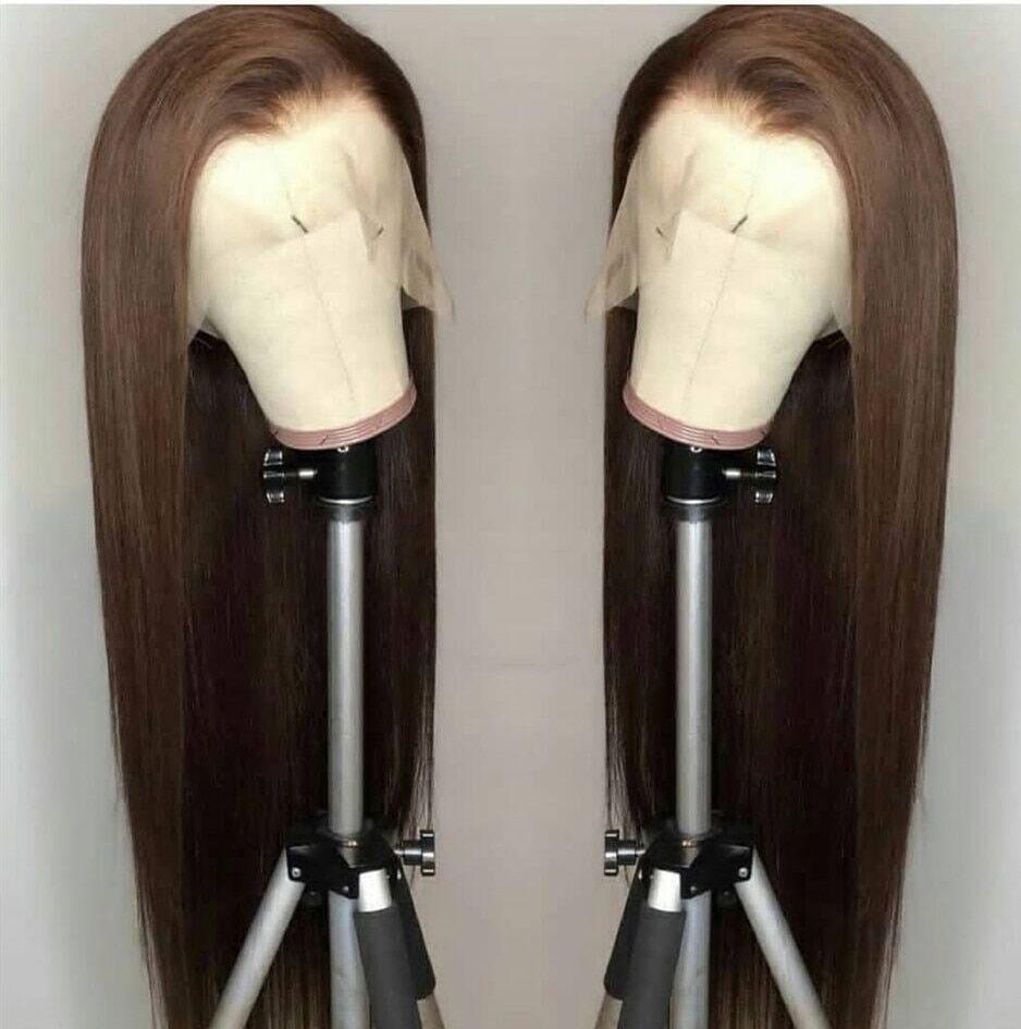 AliExpress Perruque synthétique brune Marquesha, perruque Lace Front Wig longue et lisse, look réaliste pour