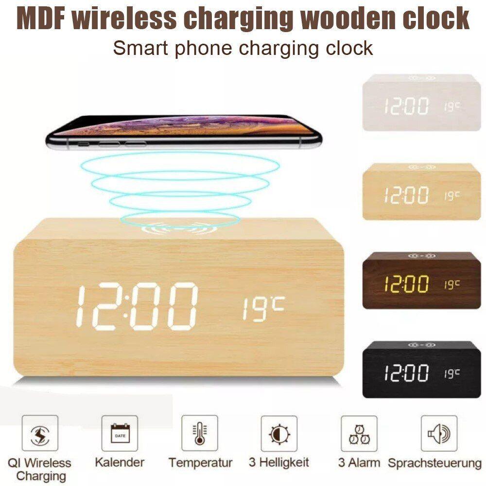 AliExpress Réveil numérique en bois à LED, horloge de Table avec affichage de la Date, chargeur à Induction,