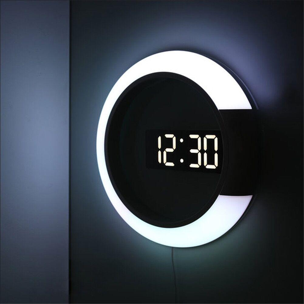 AliExpress Horloge murale à LED multifonctionnelle, réveil avec affichage de la température, décoration de la