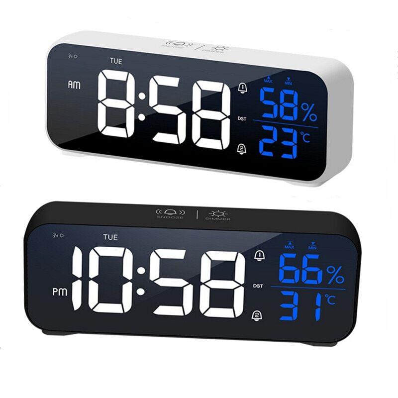 AliExpress Réveil numérique à LED, double alarme, jour/week-end/quotidien, commande vocale, 12/24H, batterie
