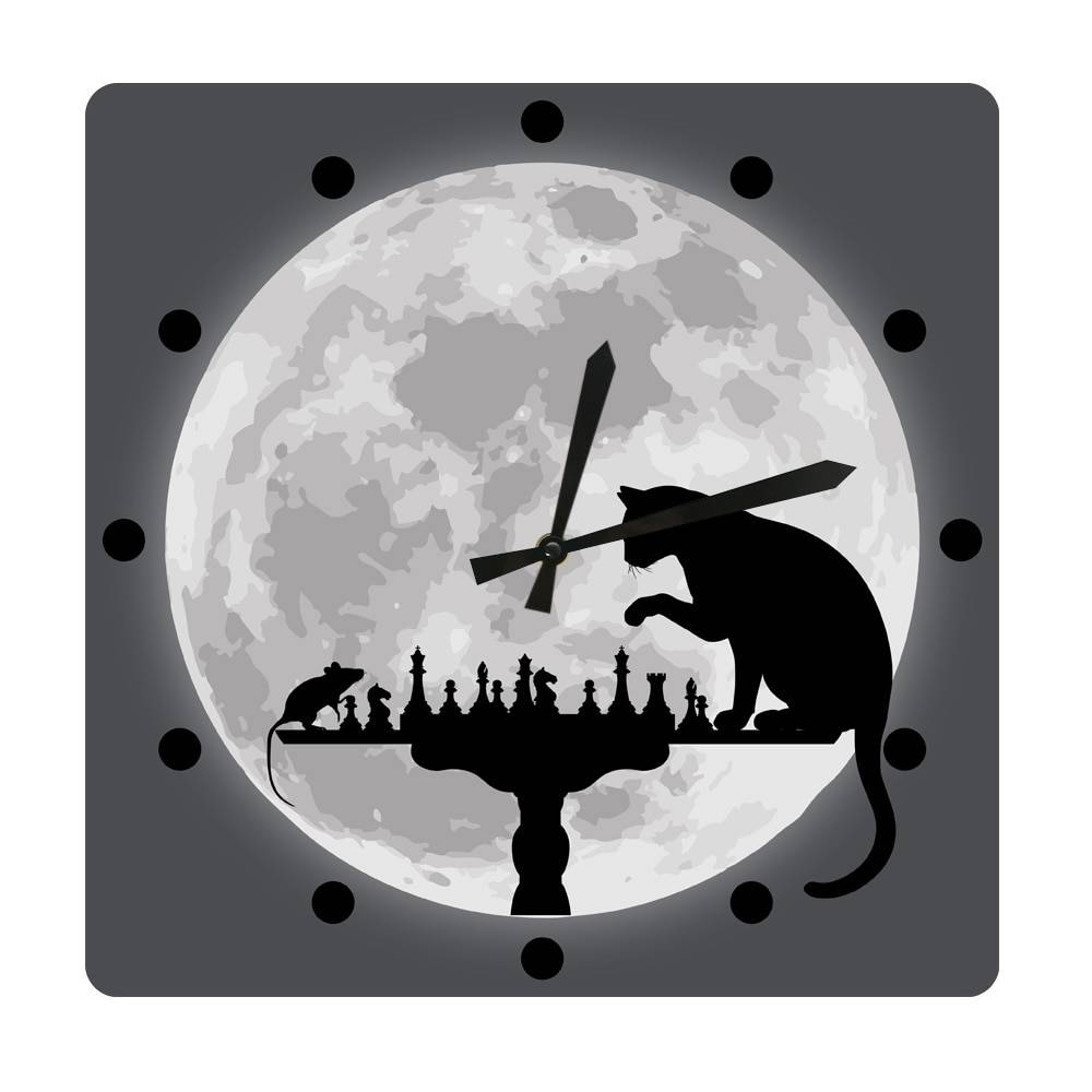 AliExpress Jeu d'échecs avec souris et fond de lune, horloge murale carrée suspendue, pour chat, jeu de chasse,
