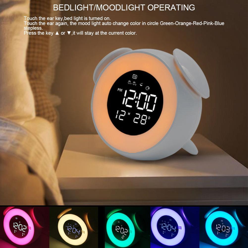 AliExpress Horloge numérique à LED, lumière de réveil, lampe de Table avec Mode coucher de soleil, veilleuse