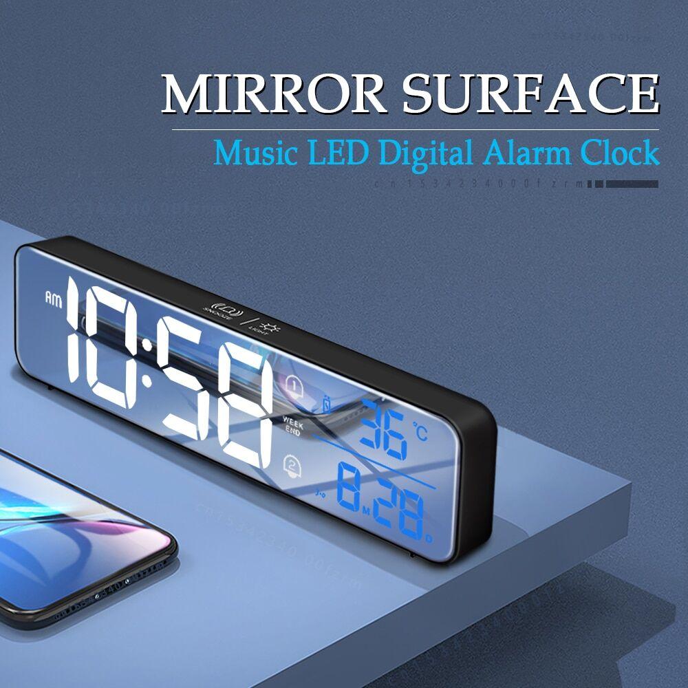 AliExpress Réveil numérique à LED, musique, affichage de la température, horloge de bureau, miroir, décoration