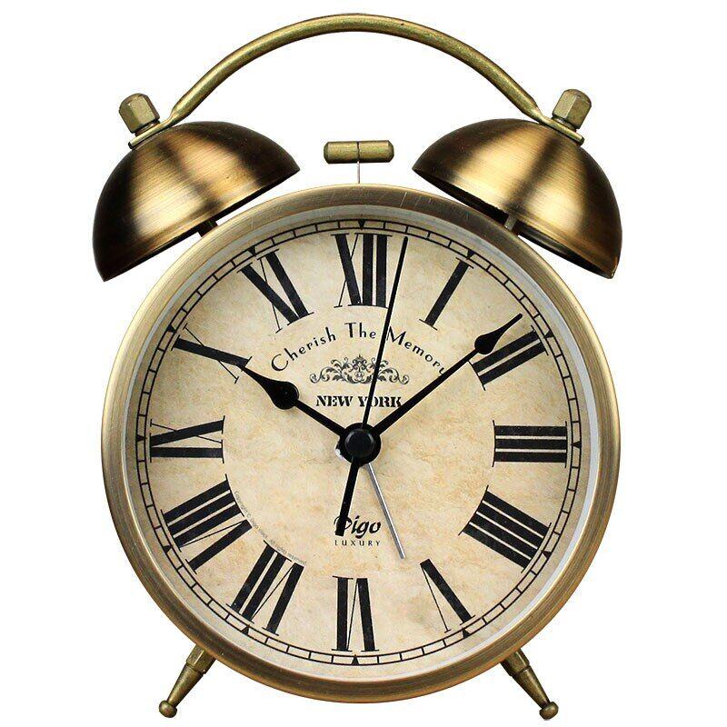 AliExpress Veilleuse en métal Vintage, réveil de chambre à coucher, rétro, horloge de Table de chevet, bureau à