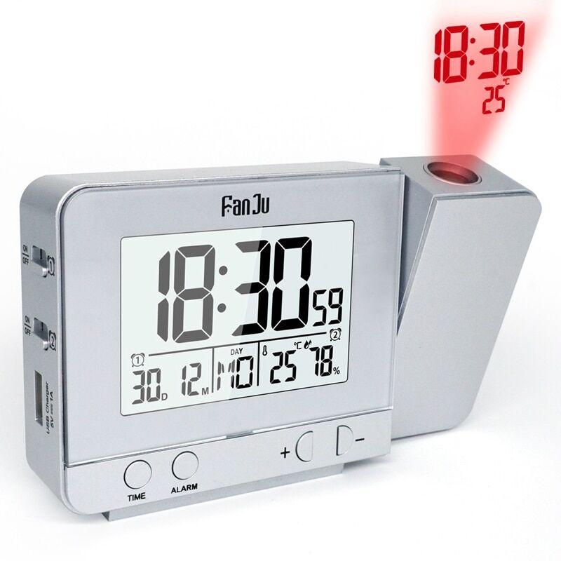 AliExpress Réveil à Projection numérique, fonction Snooze, thermomètre de Table de bureau, hygromètre, horloge
