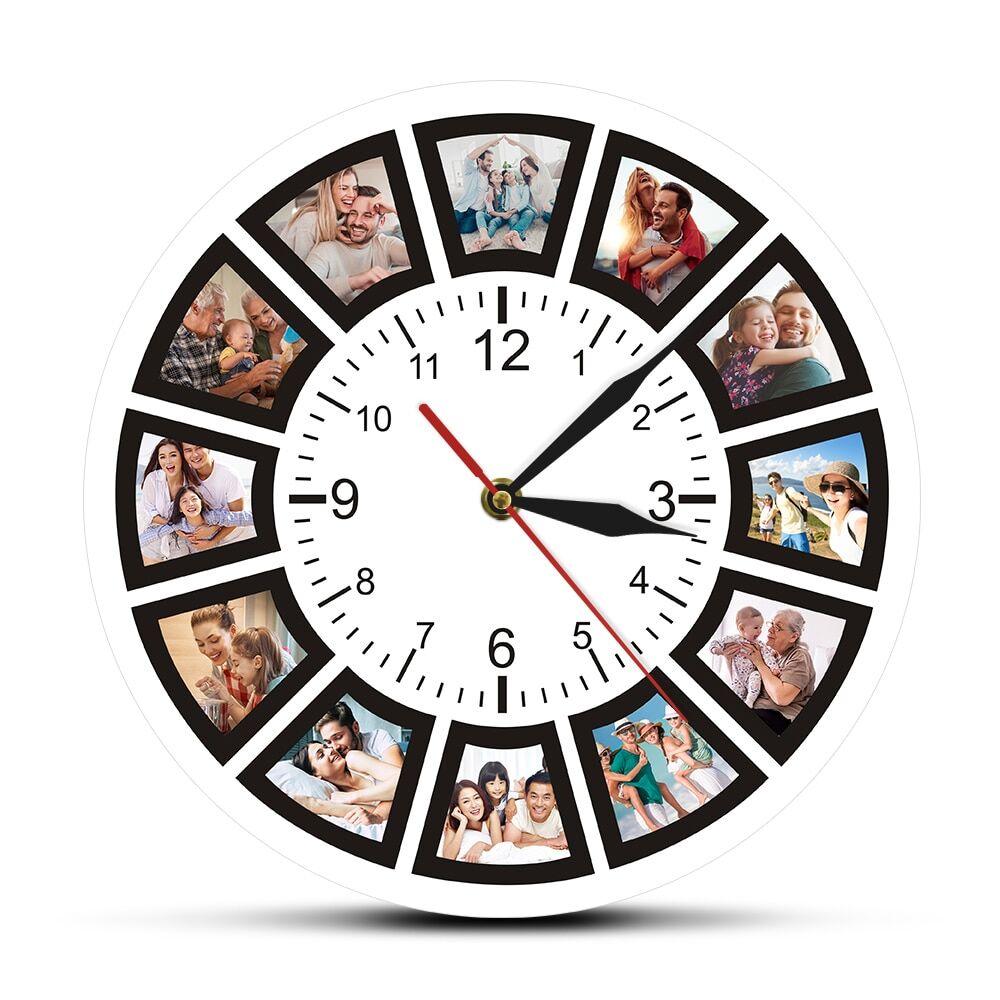 AliExpress Créez votre propre horloge murale personnalisée avec 12 Photos, cadeau Souvenir Unique, montre