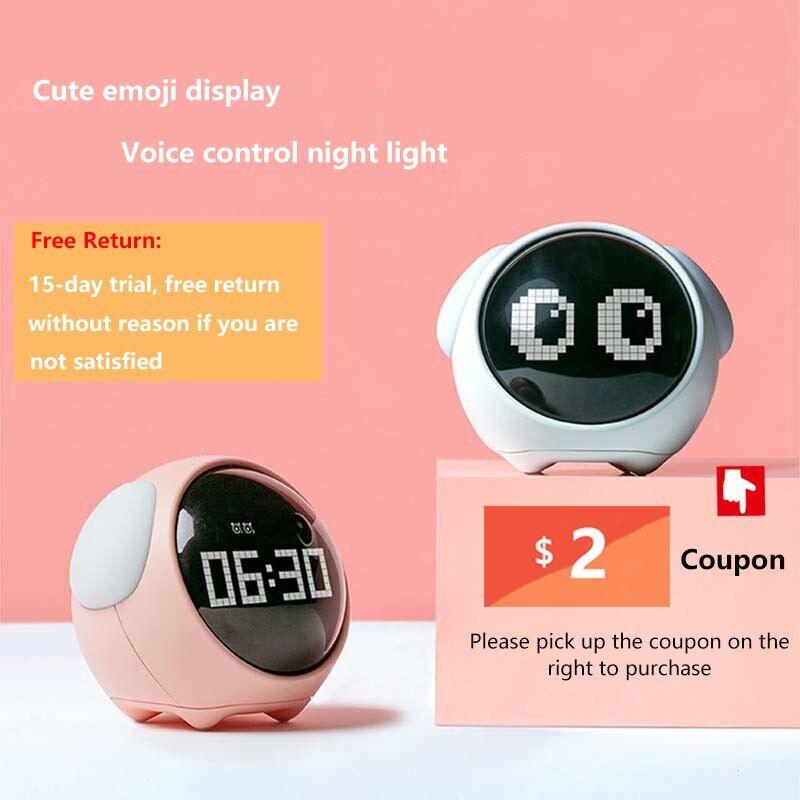 pixel Réveil numérique à Led pour enfants, horloge électronique multifonction, lumière de réveil nocturne,