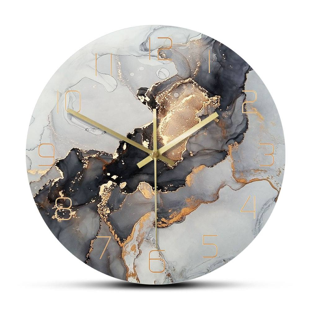 AliExpress Horloge murale imprimée à l'encre d'alcool, Art moderne, Texture de marbre, horloge à Quartz
