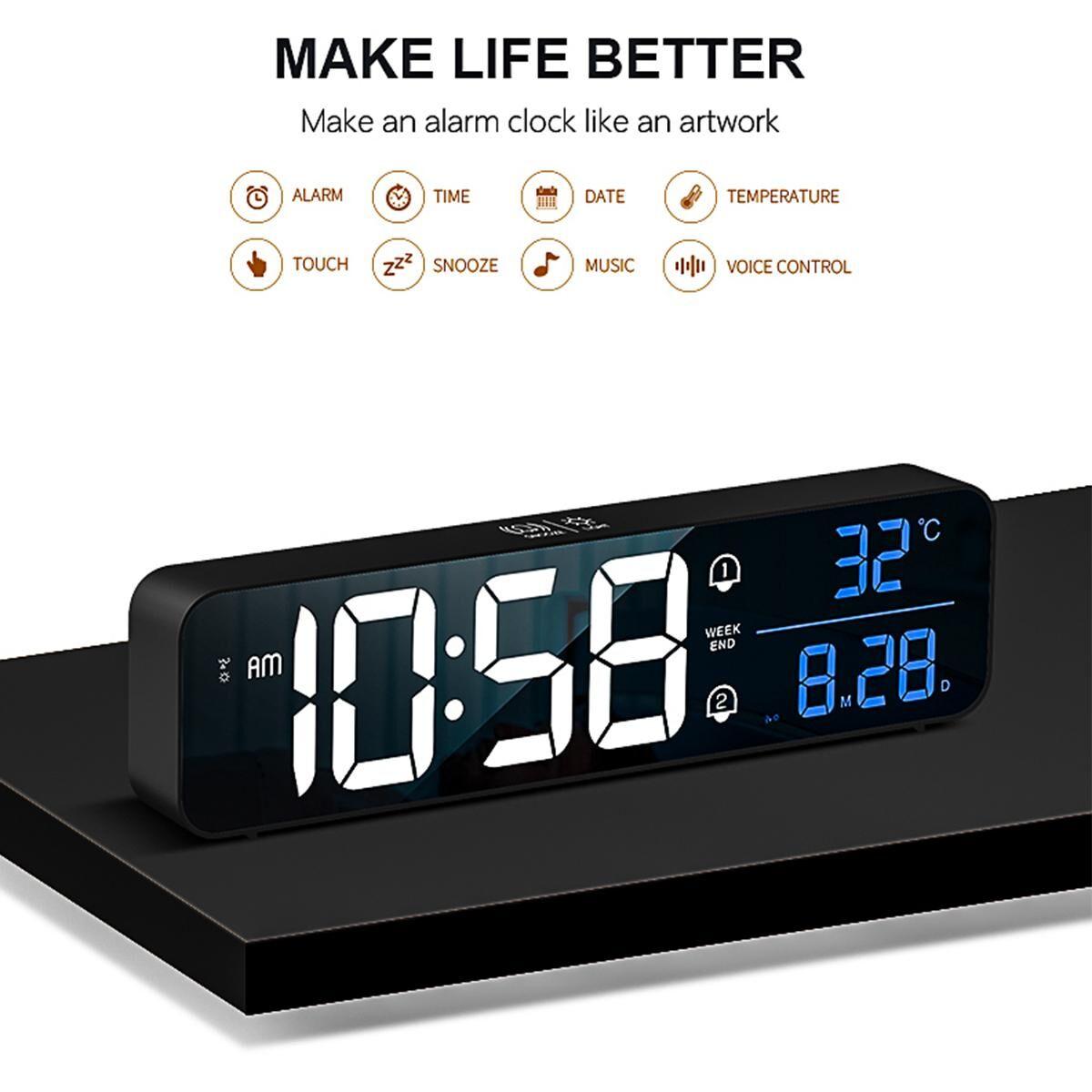 AliExpress Réveil numérique sans fil USB, horloge électronique à double alarme, miroir, Mode, décor mural de