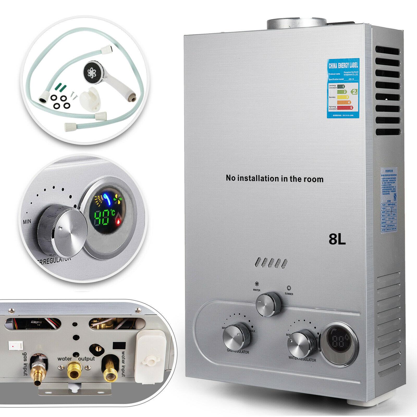 AliExpress Chauffe-eau au gaz Propane 8l gpl, sans réservoir, affichage numérique, avec Kit de douche, pour