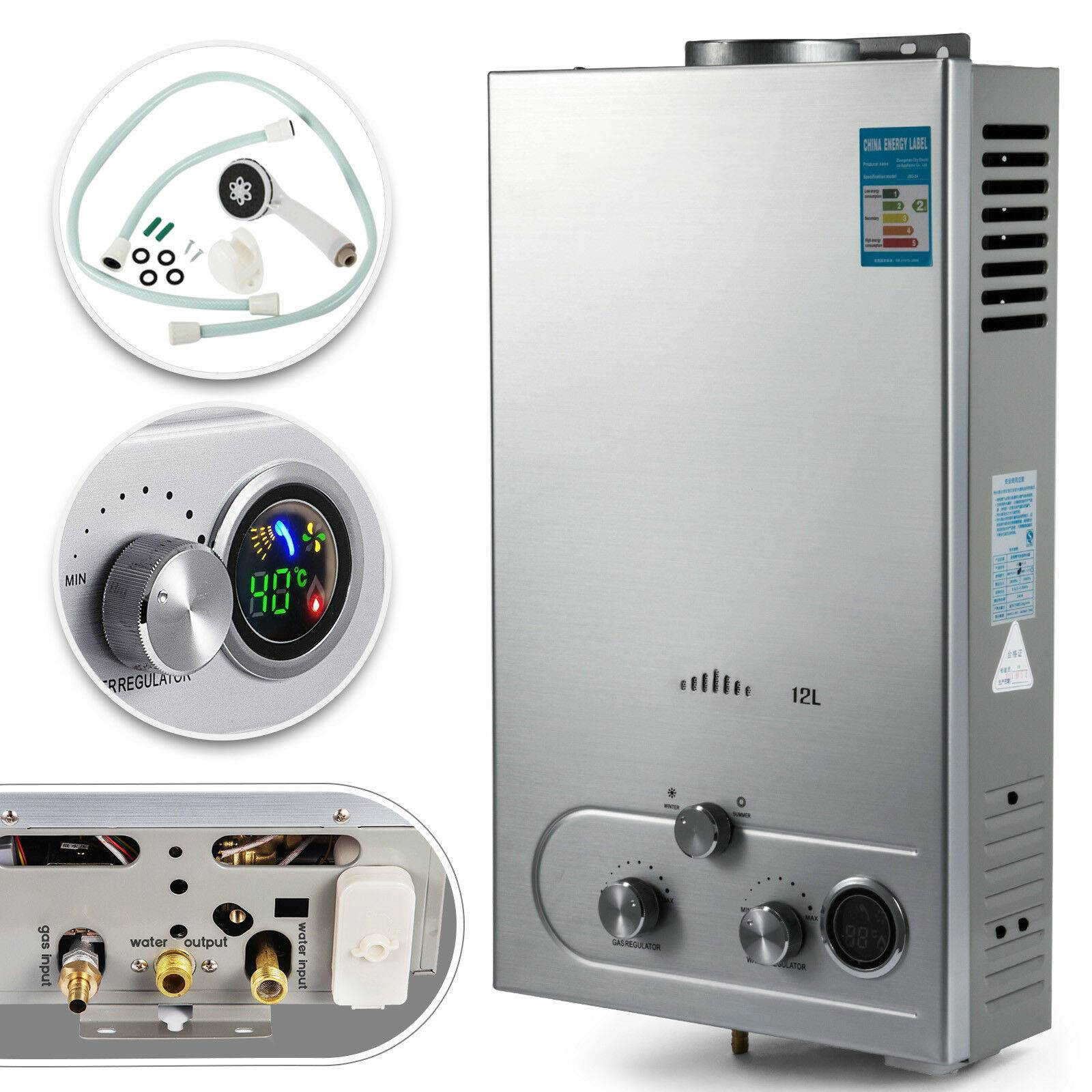 VEVOR – chauffe-eau instantané 12l au gaz Propane, en acier inoxydable, pour l'extérieur