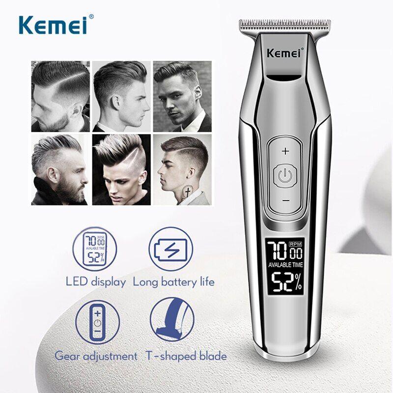 AliExpress Kemei – tondeuse à cheveux professionnelle pour hommes, tondeuse à barbe avec écran LCD, appareil