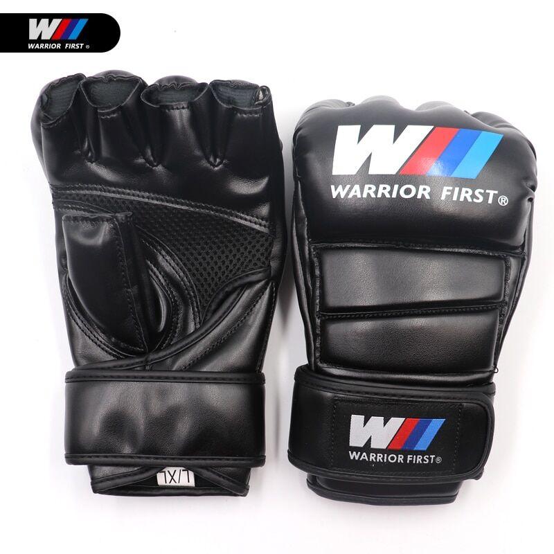 AliExpress Gants de boxe, demi-doigt, en cuir PU, pour combat MMA, karaté Muay Thai, pour entraînement, taille