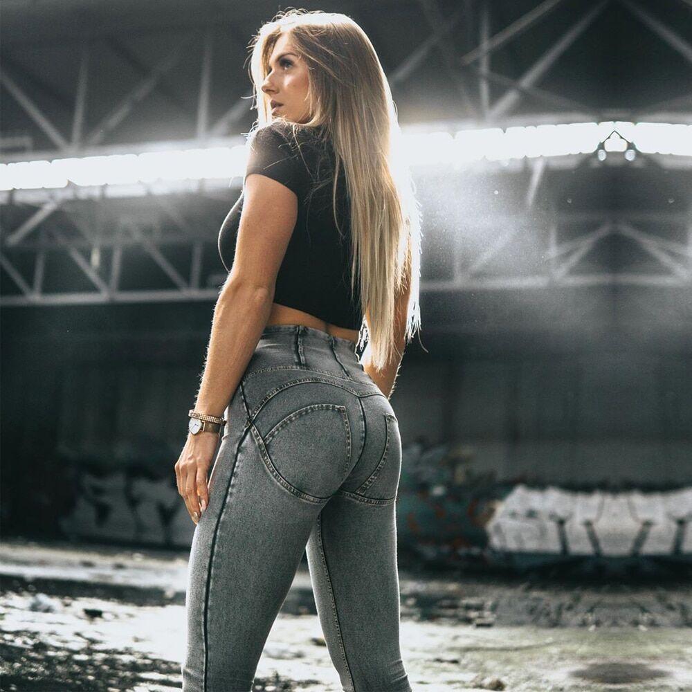 AliExpress Melody – jean de sport taille haute pour femme, pantalon moulant, gris, Fitness, élastique,