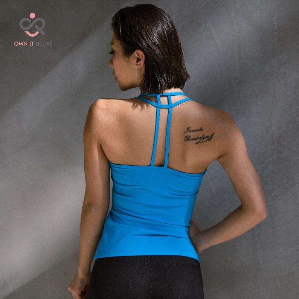 AliExpress T-shirt avec soutien-gorge bleu, vêtement de sport, yoga, fitness, course, séchage rapide, antichoc