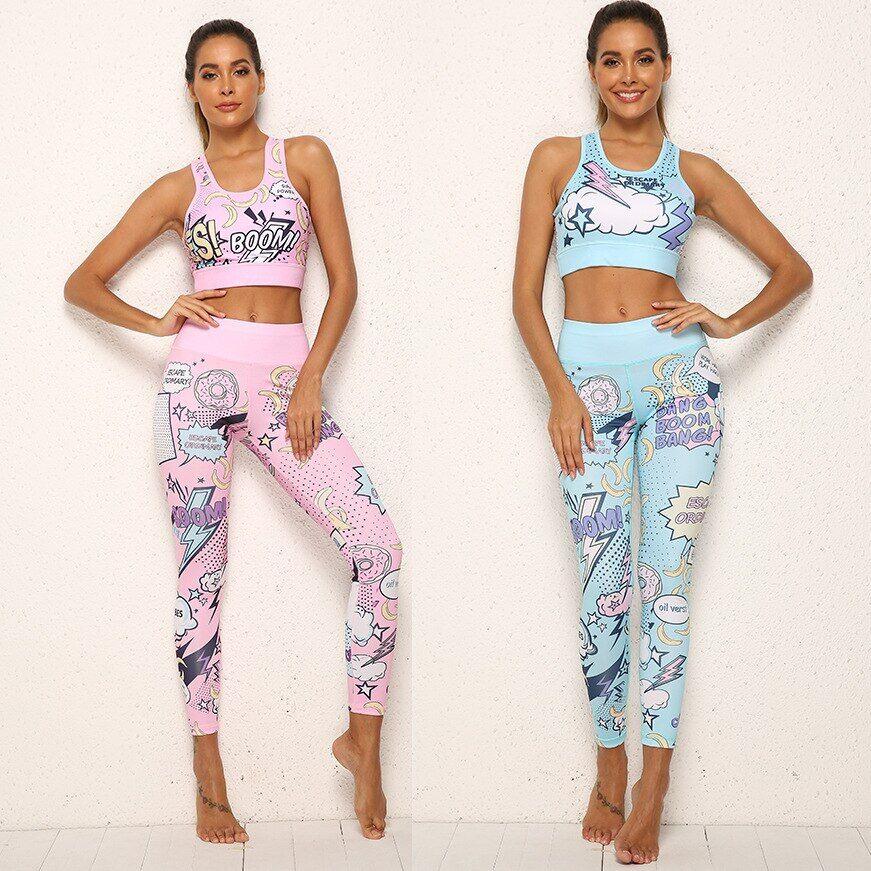 AliExpress Ensemble de vêtements de Sport de Yoga pour femmes, costume de Fitness, imprimé de dessin animé,