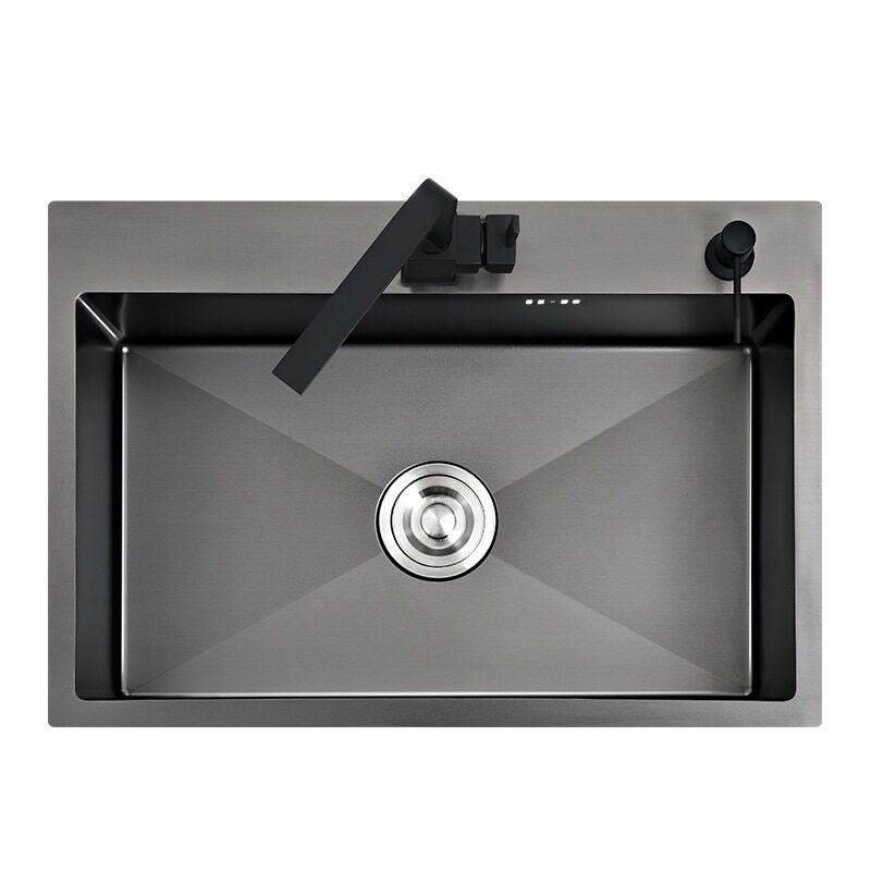AliExpress vier de cuisine noir en acier inoxydable, lavabo de lavage des légumes à monter sur le comptoir ou