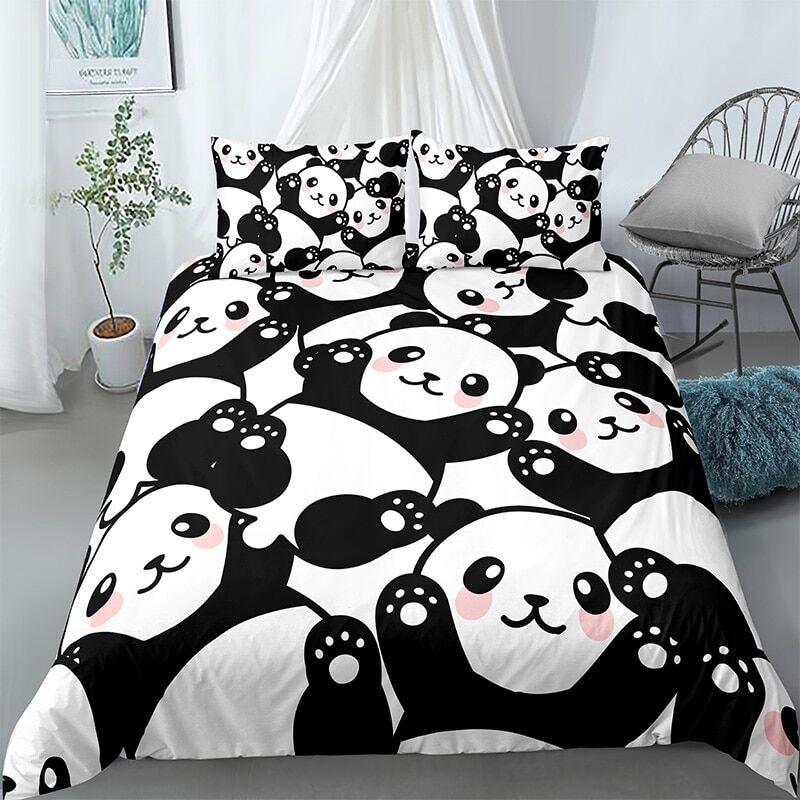AliExpress Parure de lit imprimée Panda, ensemble de literie en bambou, housse de couette et taies d'oreiller