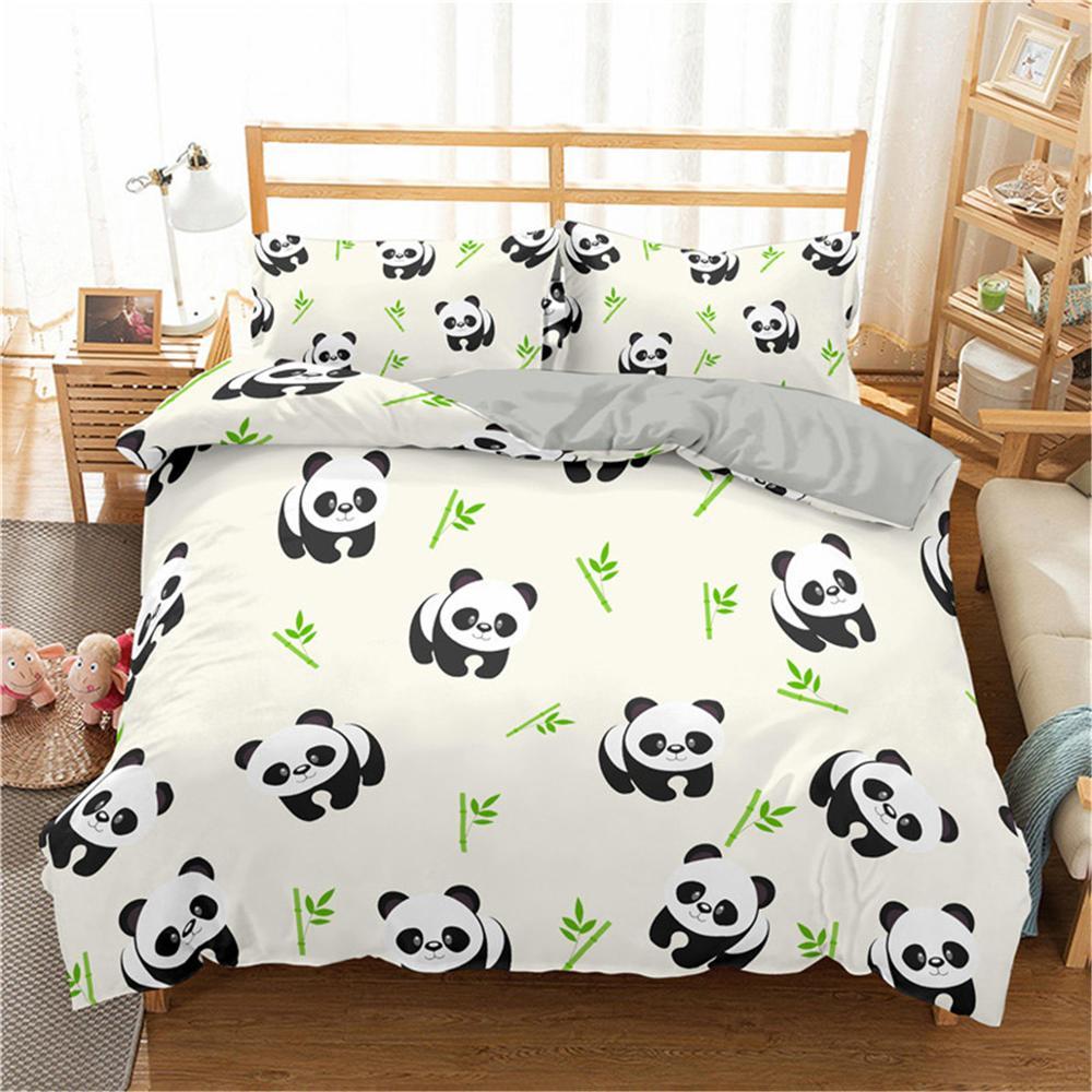 AliExpress Boniu – parure de lit imprimée Panda, ensemble de literie 3 pièces en bambou, housse de couette et