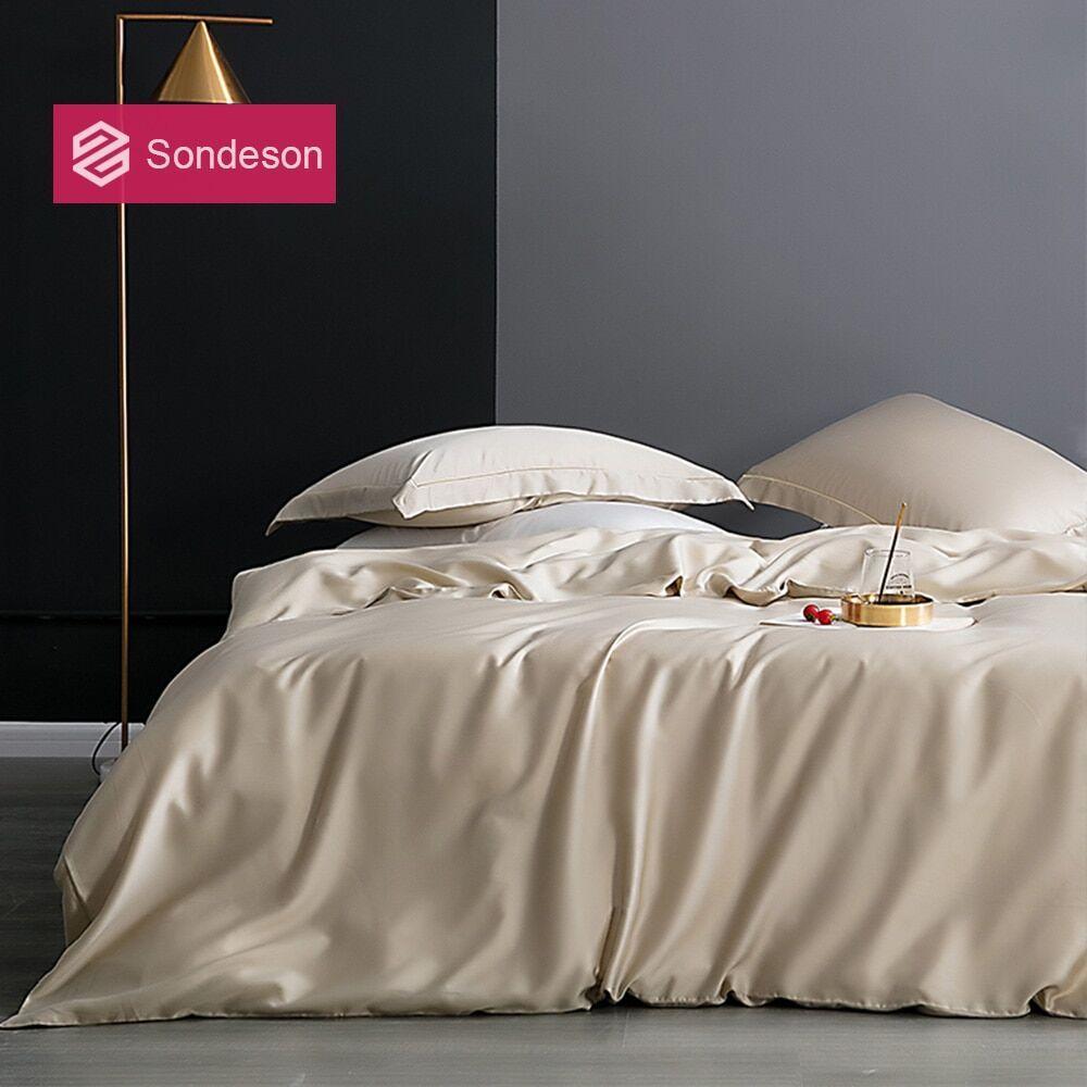 AliExpress Sondeson – parure de lit 100% soie pour adulte, ensemble de literie, housse de couette, drap plat,