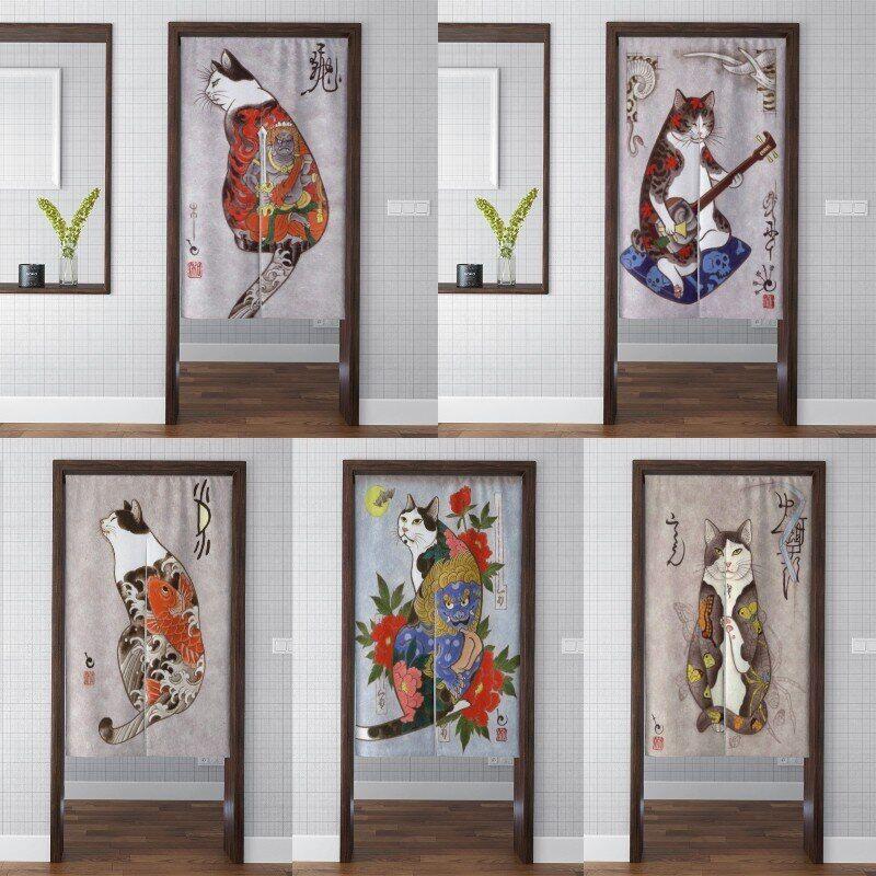 AliExpress Rideau de porte japonais imprimé chat mignon, épais, occultant, pour salle de bain, chambre à