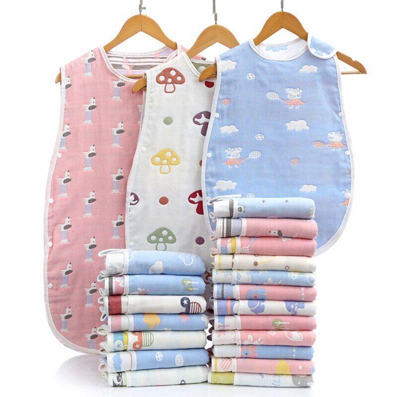 AliExpress Sac de couchage en gaze de coton à Six couches, gilet Anti-coup de pied pour bébé, unisexe, sac de