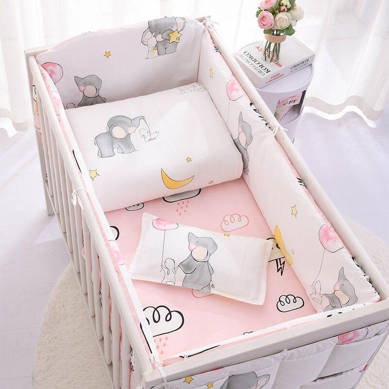 AliExpress Parure de lit 100% coton pour bébé, motif dessin animé, avec pare-chocs, drap de couette, housse de