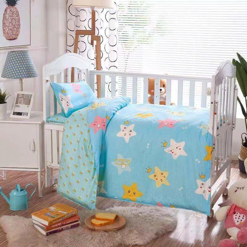 AliExpress Parure de lit 100% coton pour bébé, 3 pièces, avec housse de couette, taie d'oreiller,